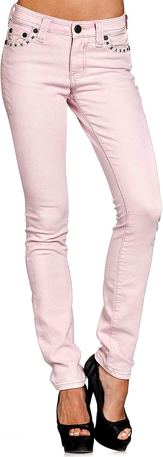 Affliction Raquel Maxine Pink Skinny Cut Denim Jeans for Women