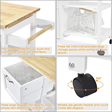 NSdirect Kitchen Island Cart,Industrial Kitchen Bar&Serving Cart Rolling on Wheels Utility Storage Trolley with 3-Tier Wi