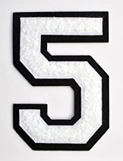 Varsity Number Patches - White Embroidered Chenille Letterman Patch - 4 1/2 inch Iron-On Numbers (White, Number 5 Patch)