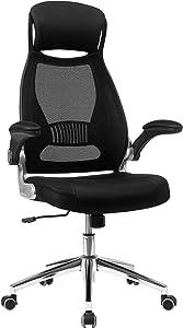 SONGMICS Office Swivel Chair Mesh Backrest with Headrest and Flip up Armrests Black OBN86BK