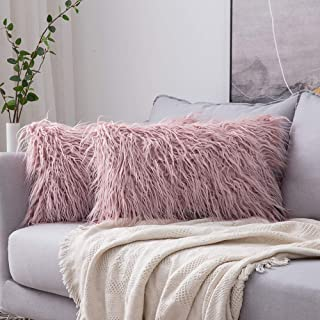 MIULEE Pack of 2 Decorative New Luxury Series Style Faux Fur Throw Pillow Case Cushion Cover for Sofa Bedroom Car 12 x 20 Inch Blush Pink