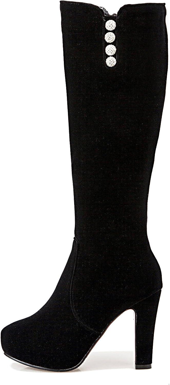 DecoStain Women's Rhinestone Thin High Heels Zipper Boots