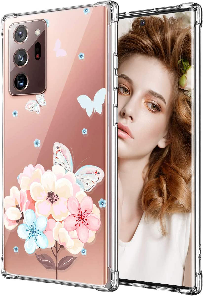Galaxy Note 20 Ultra Case for Women Girls, Clear Floral Flower Cute Design Hard Plastic Back + Soft TPU Bumper Protective Shockproof Phone Case for Galaxy Note 20 Plus,Pink-Poppy/Butterfly