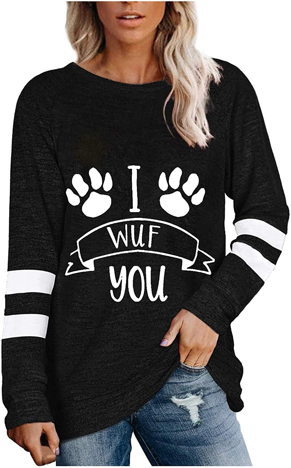 Casual Automne Hiver Pullover D/écontract/é Sweat-Shirts /à col Rond pour Femmes Allegorly Femme Pull Sweat Rayures Patchwork Sweat Shirt