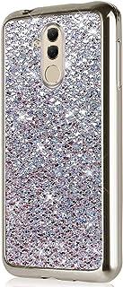 JAWSEU Fodral glitter kompatibelt med Huawei Mate 20 Lite Sparkle bling glänsande gelväska mjukt TPU silikon gummi skydd p...