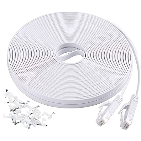 Ethernet Cable 30 ft Xbox Jaremite Cat6 Ethernet Internet Network LAN Cable with Cable Clips for Modem PS4 Router