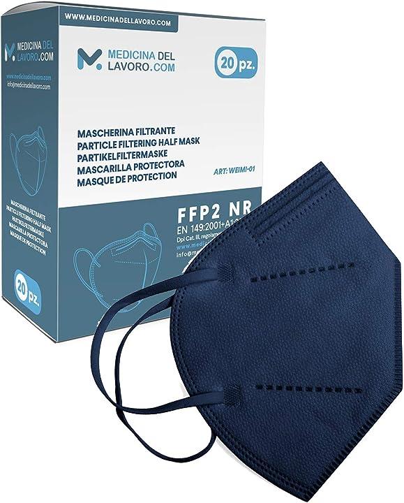 Mascherine ffp2 blu certificate ce, mascherina 4 strati senza valvola bfe95%, 20 pezzi 7427244647007
