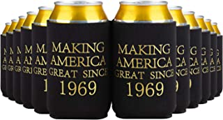 Crisky 50th Birthday Beer Sleeve, 50th Birthday Can Cooler Insulated Covers, 50th Birthday Decorations Black Gold Making America Great Since 1969, Neoprene Coolers for Soda, Beer, Can Beverage, 24 Pcs