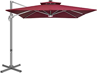 VIVOHOME Heavy Duty 9 Ft 360� Rotating Double Top Cantilever Square Deluxe Patio Umbrella Weatherproof Hanging Offset Sun Shelter with LED Lights Cross Base and Cover Wine