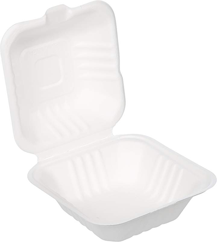 AmazonBasics 6 X 6 X 3 1 Compostable Clamshell Take Out Food Container 500 Count