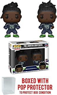 Pop! NFL: Seattle Seahawks Griffin Brothers Shaquill & Shaquem 2 Pack Vinyl Figures (Bundled with Pop Protector)