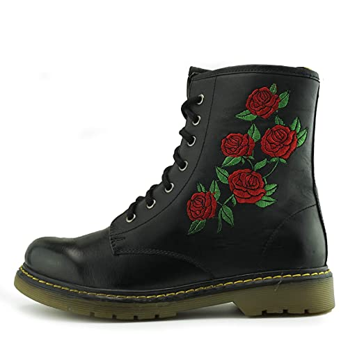 b72a78027c46 Ladies Ankle Retro Combat Boot Women s lace Funky Vintage Gothic Ankle Boots