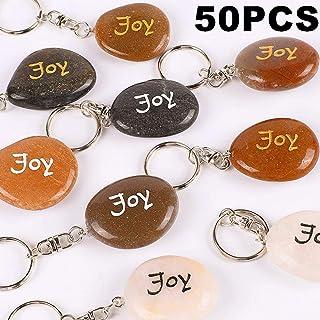 RockImpact 50PCS Joy Inspirational Stones Key Chains, Joy Wholesale Lot, Engraved Natural River Rock Joy Stone Key Rings Keychains, Healing Stone Keychain (50 Pieces, Joy)