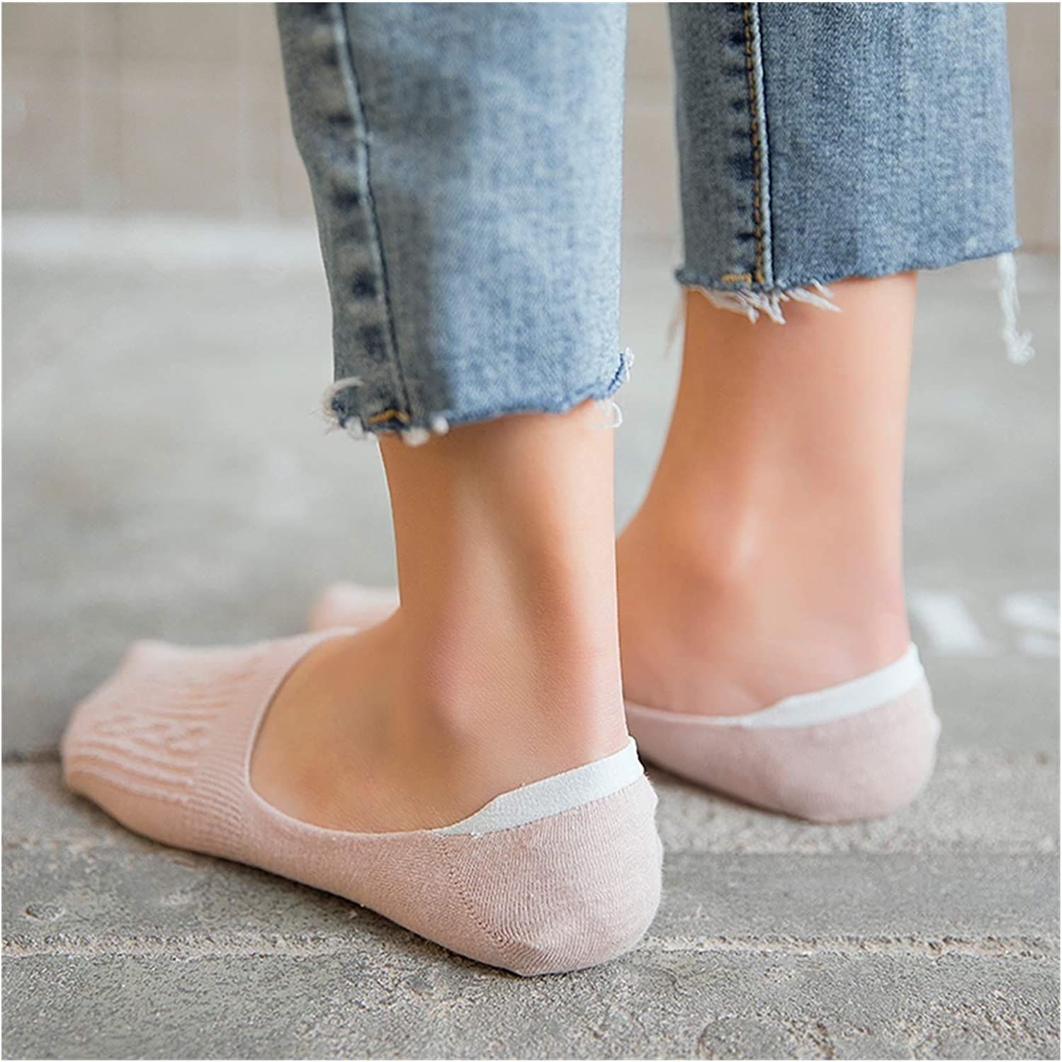 CHENGCHAO Sock New Lady Casual Breathable Ankle Boat Socks Girls Fashion Invisible Socks Non-Slip Cotton Socks Women Low Cut Candy Movement (Color : Style D 5 Pairs, Size : One Size)
