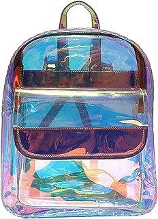 LA HAUTE Transparente Laser Mochila Transparente PVC Escuela Libro Bolsa Holográfica Bolsas de Hombro Al Aire Libre Casual Daypacks Viaje Satchel