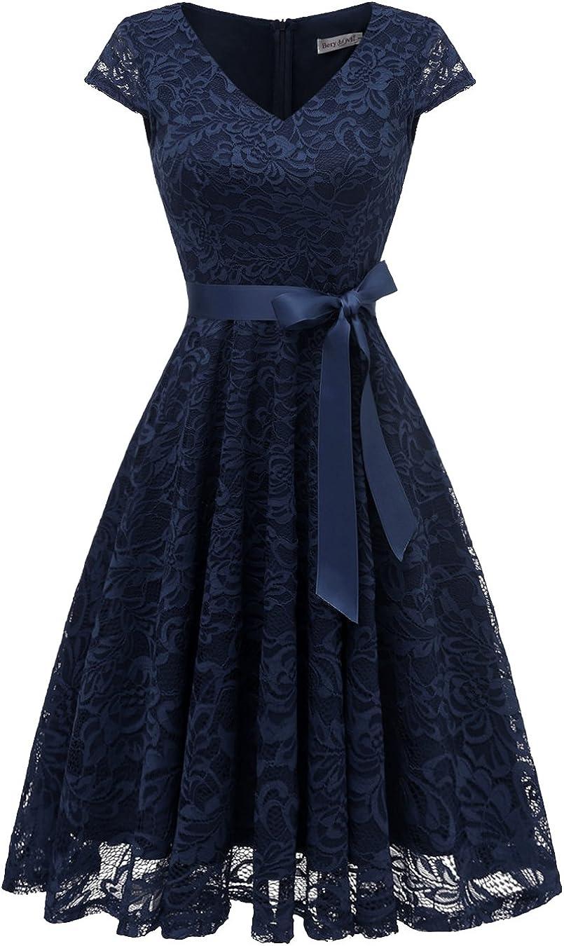 BeryLove Arlington Mall Women's Floral Lace Albuquerque Mall Short Cap Bridesmaid C Sleeve Dress