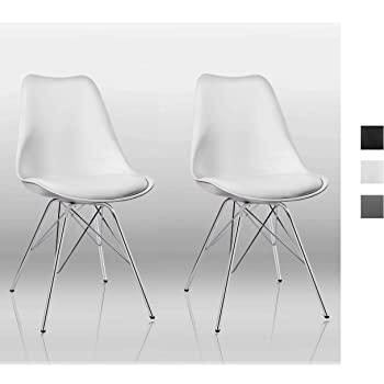 2 weiße Stühle Designer Chrom weiß Kunstleder 2er Set Esszimmerstuhl Stuhl weiss