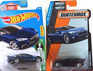 Tesla Model S Blue Hot Wheels #242 2016 & Matchbox #7 New Casting 2015 in PROTECTIVE CASES