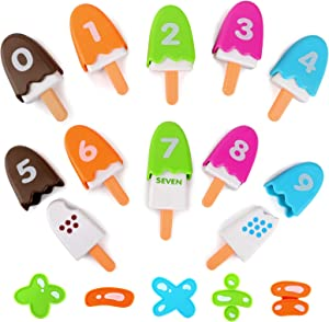 BeebeeRun Ice Cream Toys,Number Pops for Kids,Math Games for Kindergarten,Fine Motor Skills Toy,Educational Toys Gift for Boys Girls Toddlers