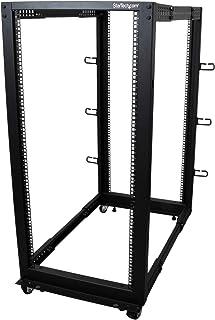 "StarTech.com 25U Open Frame Server Rack - 4 Post Adjustable Depth (22"" to 40"") Network Equipment Rack w/ Casters/ Levelers..."