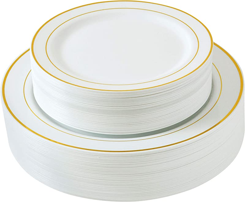 Select Settings 60 COUNT White With Gold Trim Plastic Plates 30 Dinner Plates And 30 Salad Plates