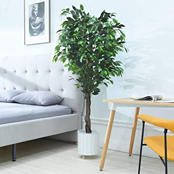 Cozy Castle Artificial Ficus Tree 72in - Artificial Plant for Home Decor Indoor, Evergreen Faux Plants, 6-Feet Fake Tree, Tall Plant with Sturdy Plastic Nursery Pot for Living Room, Farmhouse, Office
