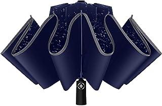 JATEN Inverted Umbrella, Reverse Folding Umbrella, Automatic Open Golf Umbrella for Men with 10 Ribs 210T Fabric Windproof...