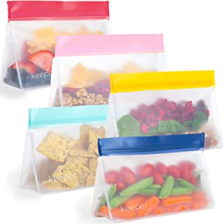 Keeper Reusable Snack Bags (Set of 5, 12 oz) - Reusable Sandwich Bags for Kids Are Resealable Thick Reusable Ziplock Bag For Food, Lunch Storage. Freezer Safe Plastic Lunch Baggies are Hand Washable