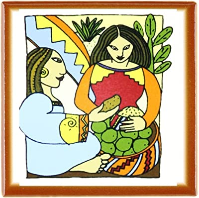 3dRose ct_62445_1 Painting of Mexican Women Cubism Style Ceramic Tile, 4-Inch