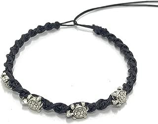 4 Sea Mini Turtle Steel Bracelet or Anklet - Turtle Hemp Bracelet - Adjustable Cord