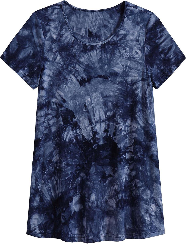Mattcoco Women's Tie Dye Pajama Tunic Top Plus Size Sleep Shirt