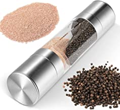 H HOME-MART Salt and Pepper Mill Grinder Set - 2 in 1 Brushed Stainless Steel Finish , Ceramic Mechanism Great Pepper Mill...