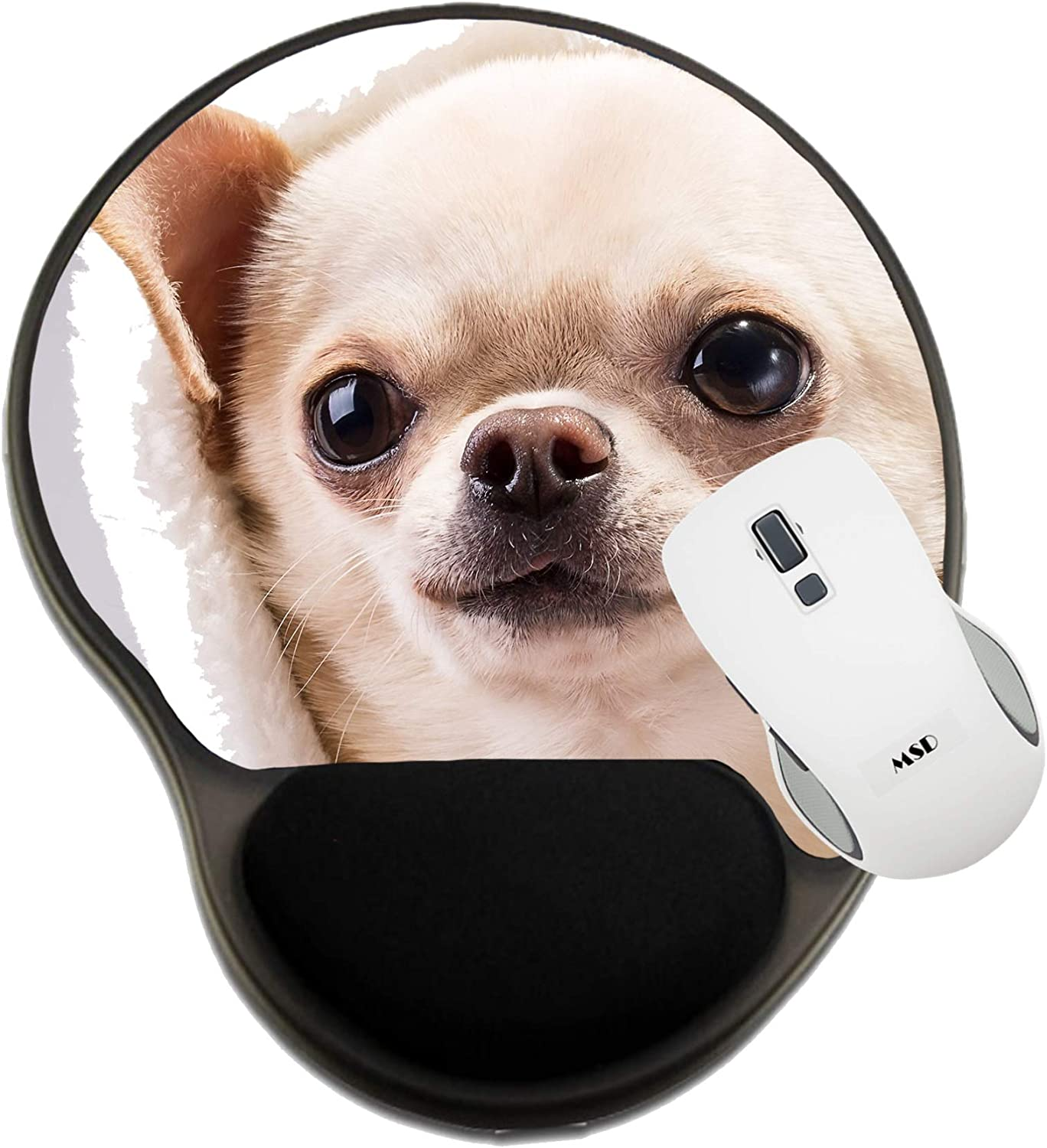 24455692 Happy Chihuahua Dog Close up Portrait Image ID Mat with Wrist Support MSD Mousepad Wrist Rest Protected Mouse Pads