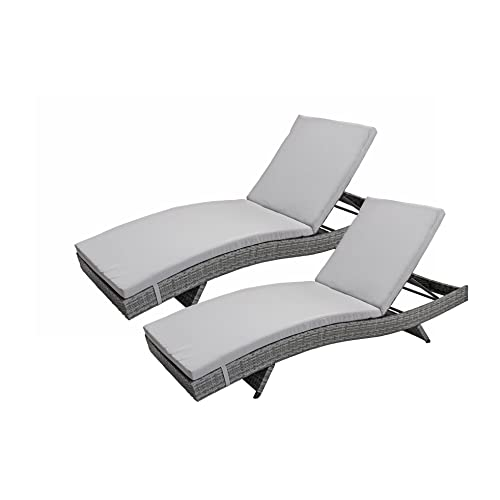 Divano Roma Furniture 2-Pack All-Weather Modern Outdoor Patio Chaise Lounge  Chairs ( - Outdoor Pool Furniture: Amazon.com