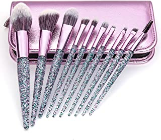 Makeup Brushes 10 Pcs Synthetic Foundation Powder Concealers Eye Shadows Makeup Brush Sets with Cosmetic Bag