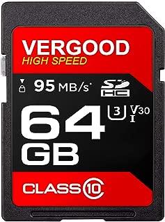 VERGOOD SDHCカード 64GB Class10 UHS-I 超高速転送 (最大転送速度95MB/s) 耐温度、防水 耐磁 耐X線 静電耐性(SDHCカード64G)