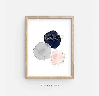 Arvier Abstract Watercolor Print Printable Abstract Art Geometric Circles Blush Pink Navy Gold Abstract Art Print Brush Stroke Art Room Decor