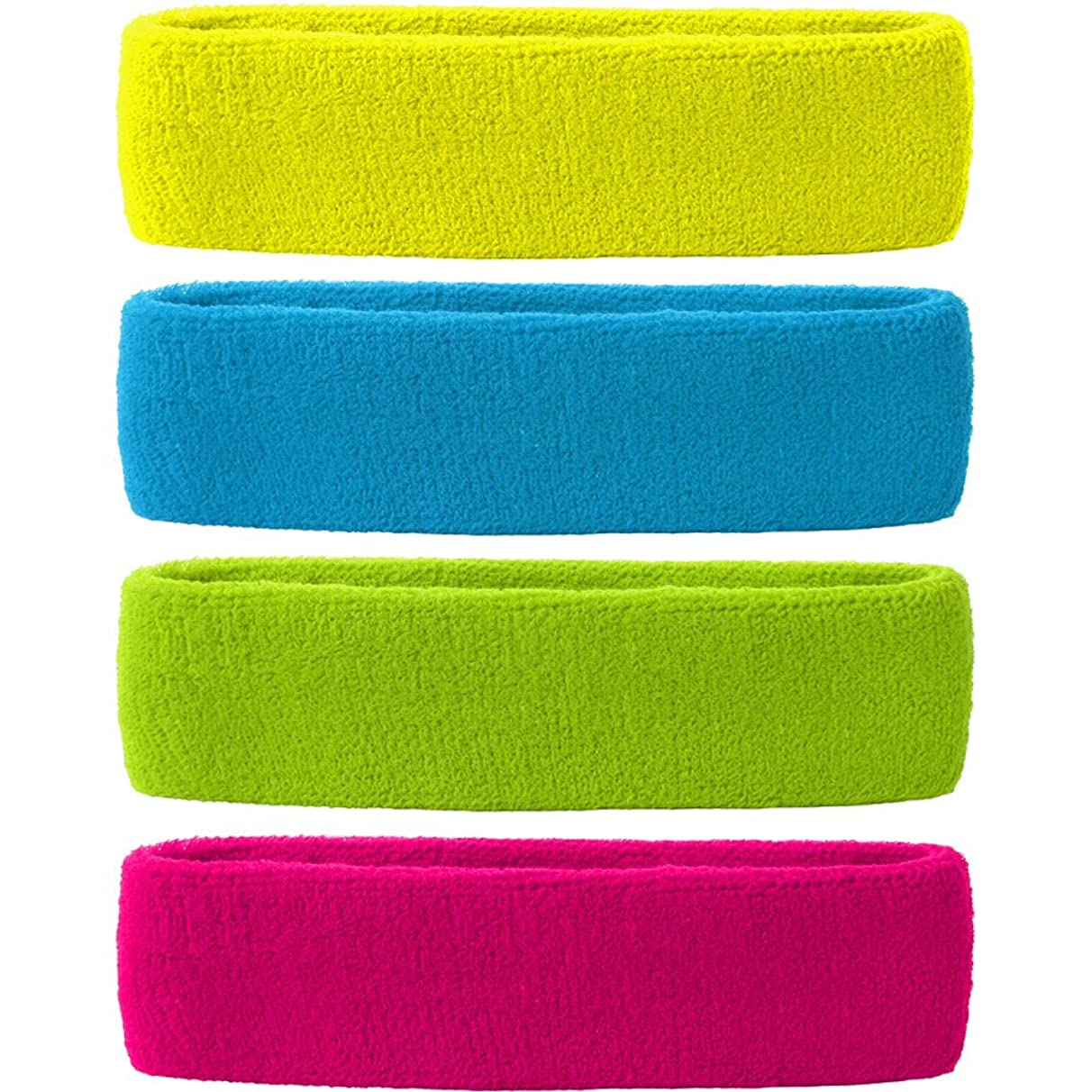 MAKLULU 4PCS Pack Colorful Sports & Outdoors Double Sweat Headbands Terry Cloth Moisture Wicking with 2 ply 100% cotton surface