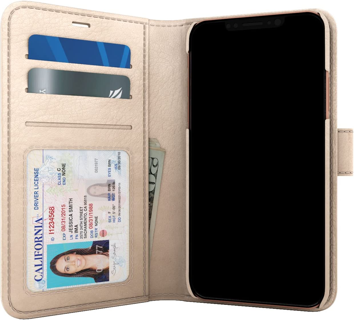 Skech Polo Book Wallet Protective Cover Detachable Case for Apple iPhone Xs/X - Champagne