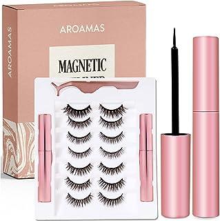Aroamas Magnetic Eyeliner and Magnetic Eyelash Kit, [7 Pairs]No Glue Reusable Silk False Lashes, Easier To Use Than Traditional Magnetic Eyelashes