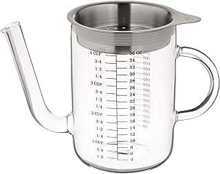 Küchenprofi 10 1236 28 00 Grease Separator 1l with Sieve, Glass, Silver/Transparent