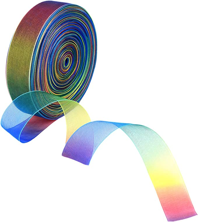 597 opinioni per Shappy 50 Yarde 1 Pollice Nastro Organza Decorazioni, Colore del Arcobaleno