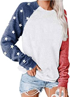 USA Flag Printed Pullover for Women Long Sleeve Casual Blouse Teen Girls Tops Shirts Tee Shirts Tee (Color : A, Size : XX...