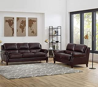 Hydeline Bradbury 100% Leather Set, Sofa and Loveseat, Burgundy