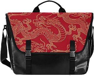 Bolso de lona con diseño de dragón chino rojo para hombre y mujer, estilo retro, ideal para iPad, Kindle, Samsung