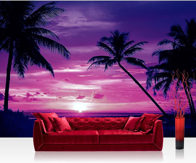 Fototapete 254x184 cm cm cm PREMIUM Wand Foto Tapete Wand Bild Papiertapete - Sonnenuntergang Tapete Meer Strand Sonnenuntergang Palme Wolken Romantik lila - no. 1950 B01NBI10N7 ab4539