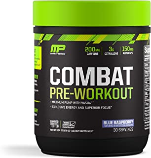 MusclePharm Combat Pre-Workout, 200 mg of Caffeine, Explosive Energy Powder, 400 mg of Tyrosine, 150 mg of Alpha GPC, Banned-Substance Tested, Blue Raspberry, 1.99 lbs., 30 Servings