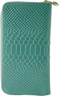 Made In Italy Genuine Leather Python Printed Woman Wallet Color Turquoise - Accessories