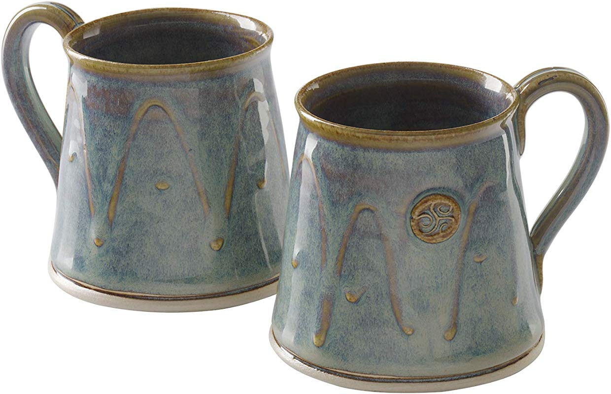 Castle Arch Pottery Set Of 2 Coffee Tea Mugs Handmade In Ireland Ideal For Coffee And Tea Use For Hot And Cold Beverages Beautiful Design And Stamp Dishwasher Safe Green Glass