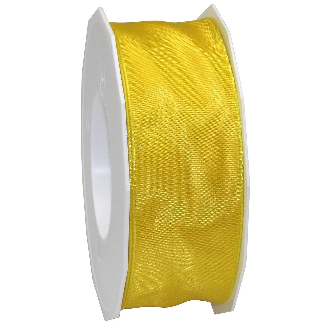 Morex Ribbon French Wired Lyon Fabric Ribbon, 1-1/2-Inch by 27-Yard, Yellow